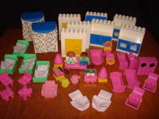 Vintage Lego Duplo Blocks Pink House Furniture People RARE Lot