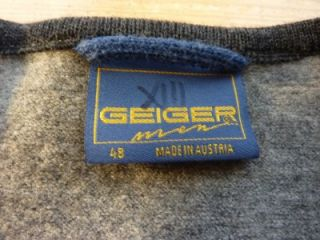 Geiger Men Austria Tyrol Gray Boiled Wool Cardigan Jacket Coat 48 US 38 s M $475