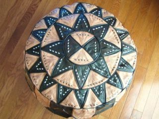 "16"" High x Large Egyptian Handmade Real Leather Ottoman Footstool Chair Pouf New"