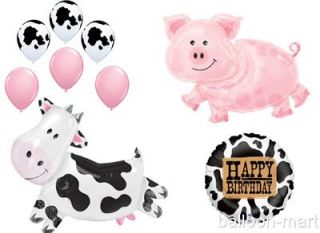 Cow Pig Balloons Farm Animal Birthday Party Western Childs Supplies Ranch Mylar