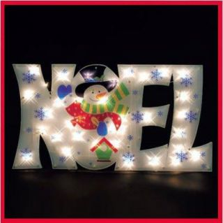 "36"" Lighted Noel Sign Snowman Snowflakes Outdoor Christmas Decoration Yard New"