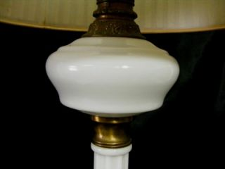 Antique Elegant Brass White Milk Glass Style Electric Table Lamp w Shade