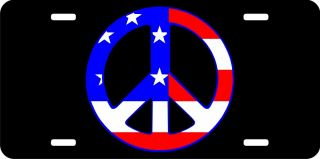 American Flag Peace Sign Symbol License Plate