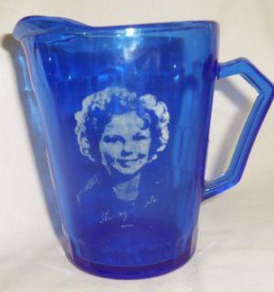 Vtg Hazel Atlas Cobalt Blue Cream Pitcher Shirley Temple