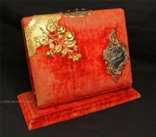 Antique Victorian Red Velvet Covered Photo Album w Stand Marked 1889 w Photos