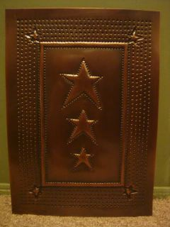 Cabinet Door Panel Insert Copper Punched Country Pie Safe Primitive Star