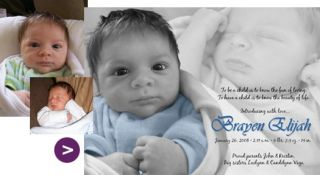 Custom Photo Adoption Baby Birth Announcement Design with Image Enhancement