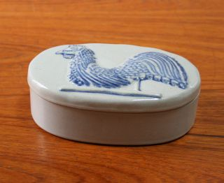 Museum of American Folk Art Glazed Pottery Rooster Covered Oval Dish