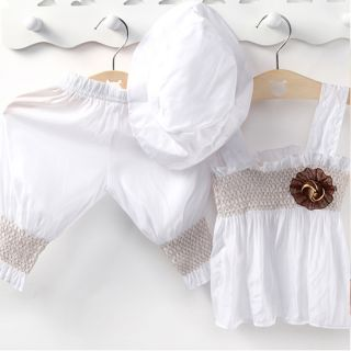 New White Baby Girl Kid Ruffle Top Pants Hat Dress Set Outfit Costume Clothes