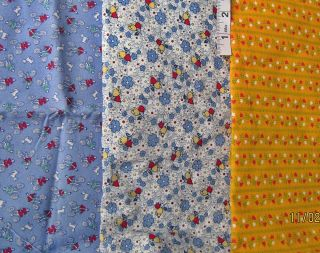3pc Blue Yellow Novelty Floral Prints Cotton Fabrics Newman Moda Marcus Bros