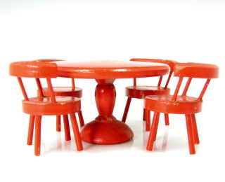 Vintage Germany Peasant Table Chairs Dollhouse Miniature Red Carved Wood Painted