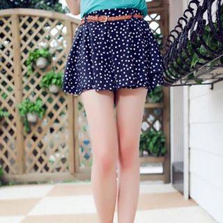 Double Chiffon Waist Short Pleated Mini Skirt Dress Colors Polka Dot Black