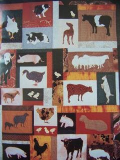 Primitive Design Farm Animals Machine Applique Quilt Pattern