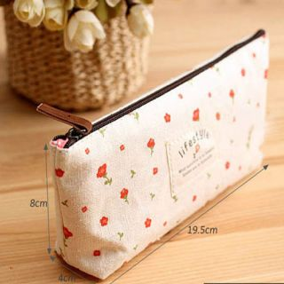 Linen Countryside Rural Style Floral Pencil Pen Case Cosmetic Makeup Bag Pouch