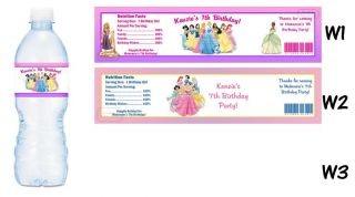 Princesses Printed Water Bottle Labels Birthday Party Favors Princess