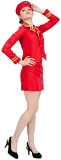 Air Hostess Stewardess Fancy Dress Costume Virgin Style Red Outfits Small UK 4 6