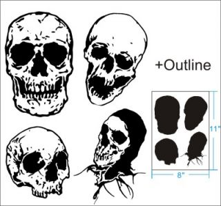 4 Skull Airbrush Stencil Template Pattern Craft Paint Party Custom 010288Y 9