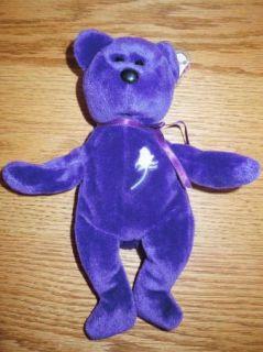 Ty Original Beanie Baby First Edition Princess Diana Purple Bear No Space No