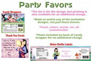 Princess Mulan 2 Mushu Shang Birthday Party Ticket Invitations Supplies Favors