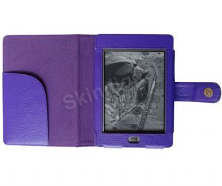 For  Kindle Touch eReader Purple Genuine Leather Case Cover Jacket