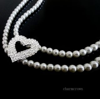 Swarovski Crystal Pearl Heart Necklace Wedding Party Bridal Jewelry Set C0021D