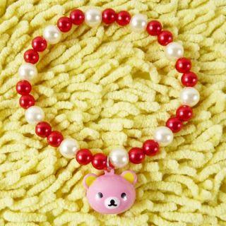 Cute Custom Pearl Beaded Necklace Collar Jewelry with Bear Pendants Pet Cat Dog