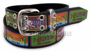 New Valerie Stevens Women's Black Rubber License Plate Fashion Belt PL8021001