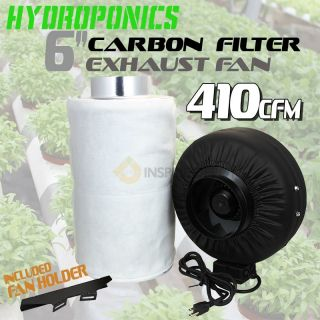 "6"" Inline Combo Exhaust Fan Blower Carbon Exhaust Duct Filter Hydroponic Quiet"