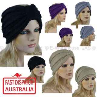 Headband Beanie Ear Warmer Knitted Turban Bow 6 Colours
