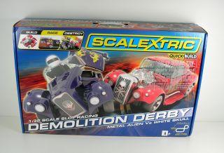 Scalextric Demolition Derby Race Track Slot Car Toy Set C1301T SC1301T New
