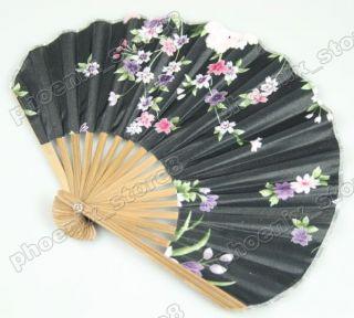 Silk Hand Fan Little Vintage Pattern Folding Fans Black 316
