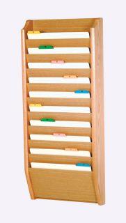 Wooden Mallet 10 Pocket Legal Size File Holder Display Storage Rack Organizer