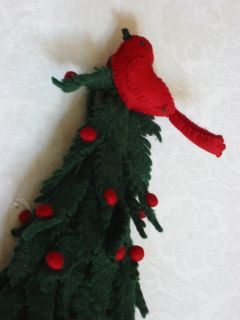 Mackenzie Childs LG Green Red Felt Tabletop Christmas Tree w Bird Pom Poms