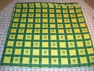 John Deere Tractor Yellow Box Plaid Cotton Flannel Fabric Bt½yd