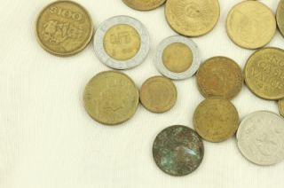 Mixed Lot Vintage Foreign Coins Currency France Hong Kong Mexico Germany