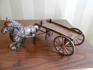 Antique Cast Iron Horse with Flatbed Toy