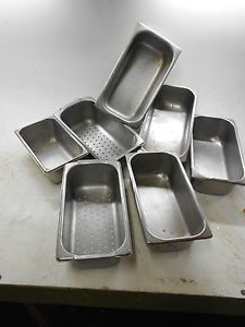 Seven Commercial Kitchen Stainless Steel Food Steaming Containers No Lids