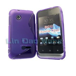 Purple s Gel TPU Case Cover LCD Film for Sony Xperia Tipo Dual ST21I
