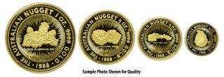 Very RARE 1988 Australian 4 Gold Nugget Proof Coin Set Orig Display Box COA