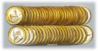 Roll of 50 BU 1 10 oz South Africa Krugerrand Gold Bullion Coins