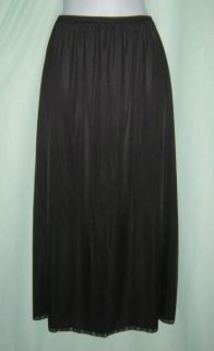 "Black Nylon Long Formal Half Slip w Side Slit 1x 2X 34""L"