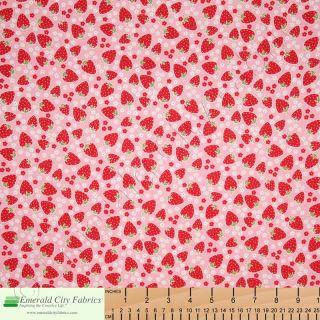 Michael Miller Blossom Berries Strawberries Pink Fabric