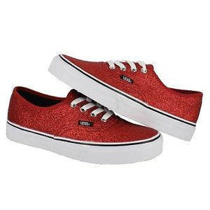 Vans Womens Authentic Shiny Glitter Red Trainers Classic Womens Shoe All Sizes