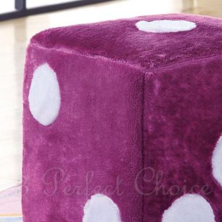 Kids Children Contemporary Pink Dice Ottoman Chair Footstools Poufs Plush Foam