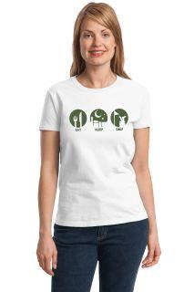 Eat Sleep Golf Ladies' Cut T Shirt Funny Golf Golfing Humor Novelty Tee