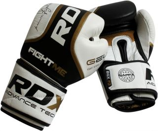 RDX Ultra Gold Leather Boxing Gloves Fight Punch Bag MMA Muay Thai Grappling Pad
