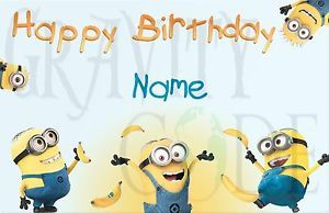 Happy Birthday Wishes Greeting Card Despicable Me Minions Personalized