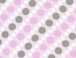 Quilt Quilting Fabric Claire Bella Diagonal Polka Dot Stripe Pink Gray White New