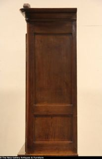 Country French Carved Pine 1850 Antique China Cabinet