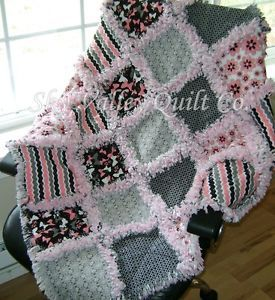 Baby Girl Rag Quilt Retro Pink Gray and Black Butterflies and Blooms